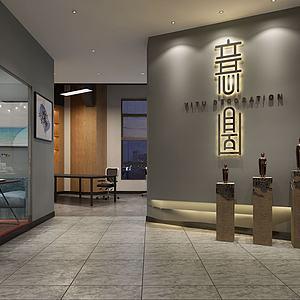 新中式简约办公室门厅模型