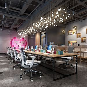 工业风办公室吊灯模型