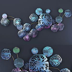 现代彩色荷叶墙饰3d模型