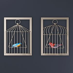 现代铁艺笼中鸟墙饰组合3d模型