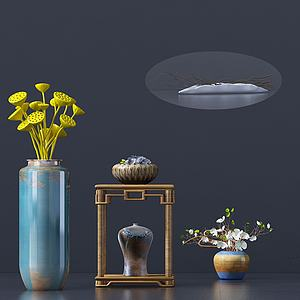 新中式桌面摆件花瓶3d模型