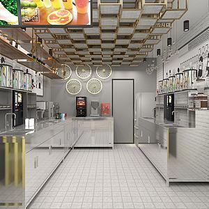 冷饮奶茶店厨房操作间3d模型