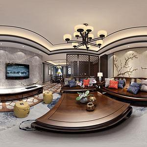 新中式风格客餐厅模型
