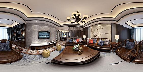 3d新中式风格客餐厅全景模型