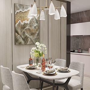 现代餐厅桌椅组合模型3d模型