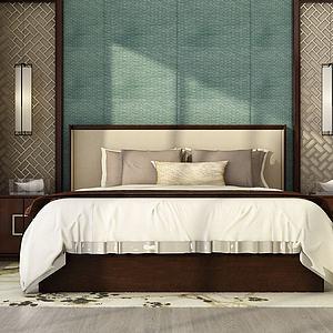 简约卧室双人床模型3d模型