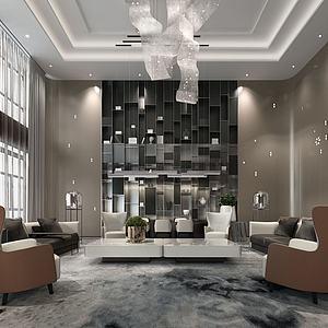 現代輕奢客廳別墅客廳模型3d模型