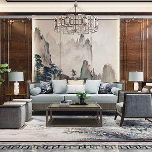 新中式客厅沙发组合模型