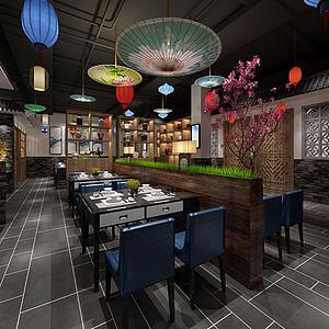新中式中餐厅模型