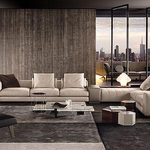 现代转角沙发茶几组合模型