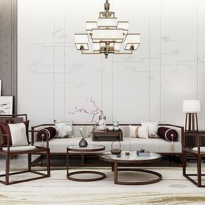 新中式客厅沙发木质桌椅模型