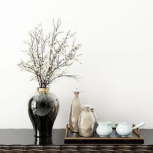 新中式花瓶花卉茶具模型