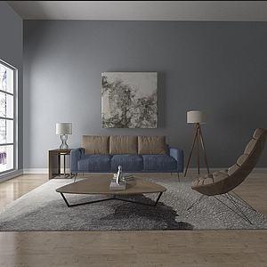 简约沙发组合懒人椅模型