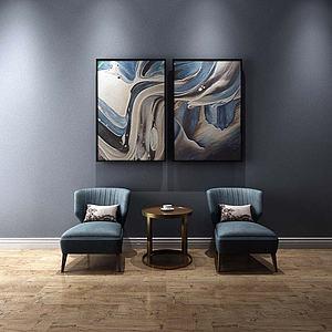 现代单人沙发挂画组合模型3d模型