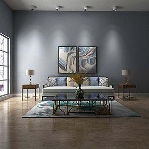 现代沙发组合挂画模型3d模型