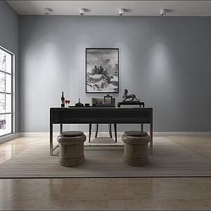 新中式办公桌椅组合模型3d模型
