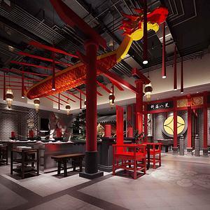 中式餐馆模型3d模型