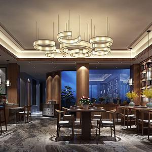 现代餐厅餐馆模型