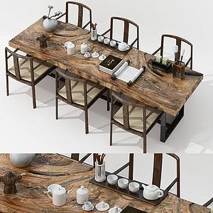 新中式茶桌椅子组合模型3d模型