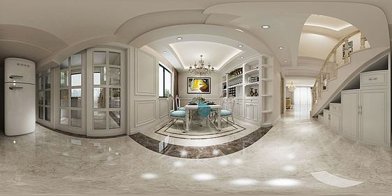 3d别墅客厅餐厅模型