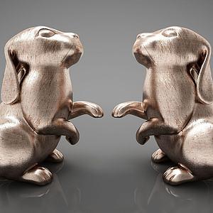 现代雕塑摆件组合模型