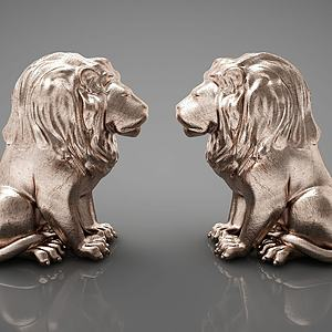 狮子摆件组合模型