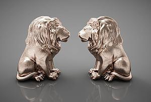 狮子摆件组合模型3d模型