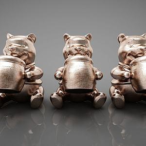 小熊摆件组合模型