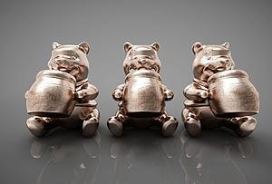 小熊摆件组合模型3d模型