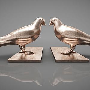 鸽子摆件组合模型