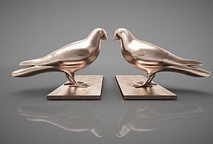 鸽子摆件组合模型3d模型