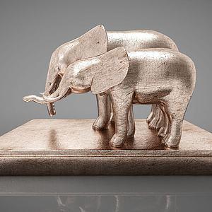 大象摆件组合模型