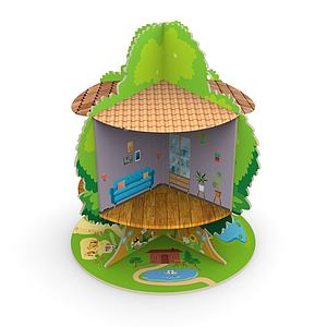 木质玩具树屋模型3d模型