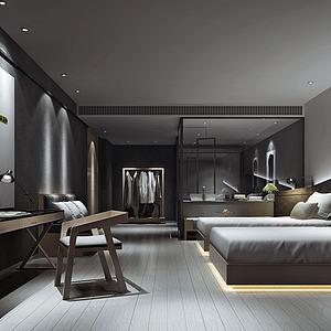 酒店客房标准间模型