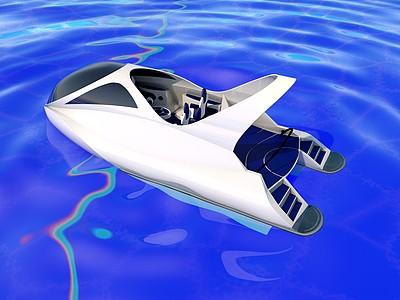 C4D現代創意小船模型