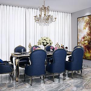 美式餐桌椅模型