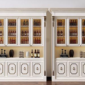 美式酒柜装饰柜模型