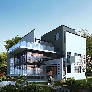 现代中式别墅3d模型