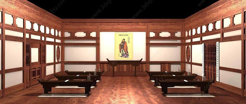 中式古代私塾孔庙学堂