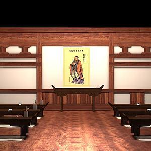 中式古代私塾孔庙学堂模型
