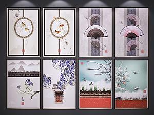 新中式装饰挂画模型3d模型