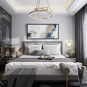 现代简约北欧卧室模型3d模型
