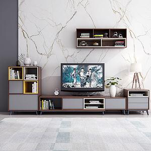 北欧轻奢电视柜边柜模型3d模型