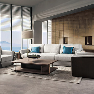 现代转角沙发茶几模型