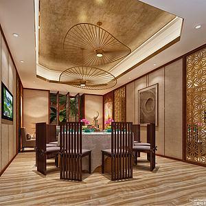 东南亚餐厅包房模型