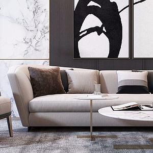 现代沙发茶几组合模型