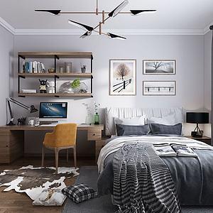 北欧简约卧室模型
