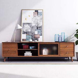 北欧实木电视柜模型