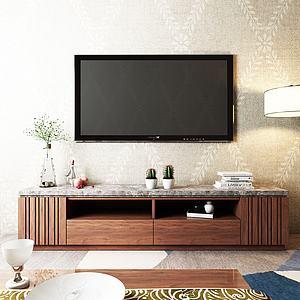 现代中式电视柜模型