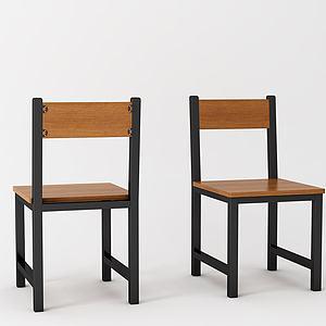 现代快餐桌椅模型